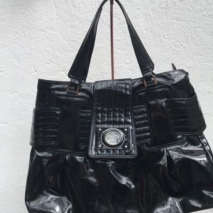 Versace black patent leather shoulder bag silver